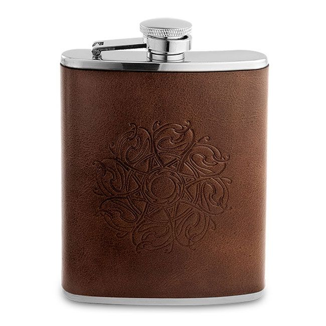 Oxford University 6oz Hip Flask Leather Covered