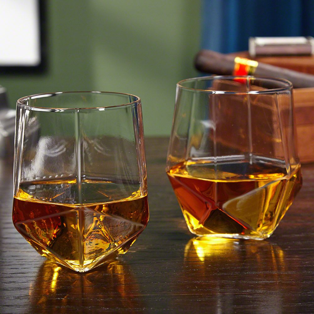 Prism Faceted Whiskey Tumblers, Set of 2