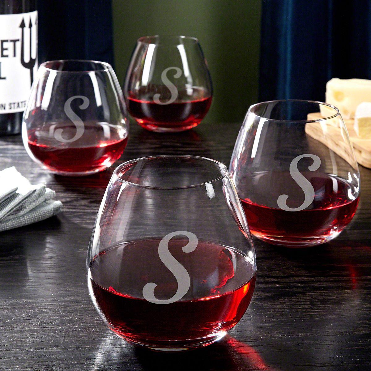Viviani Personalized Stemless Wine Glasses, Set of 4