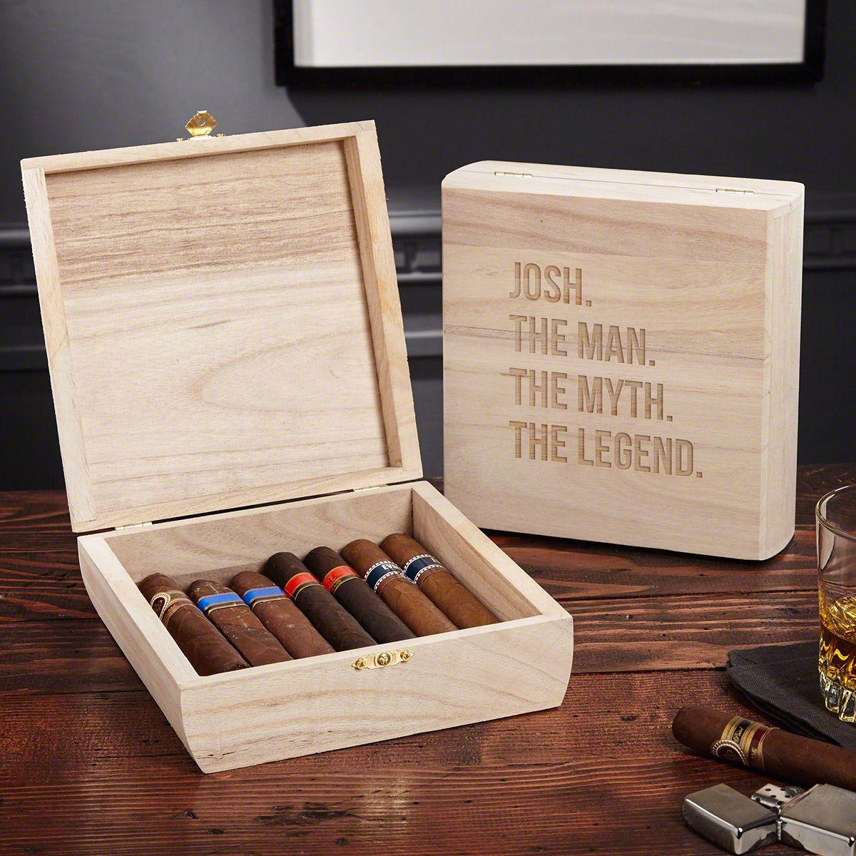 The Man The Myth The Legend Custom Santiago Wood Cigar Box