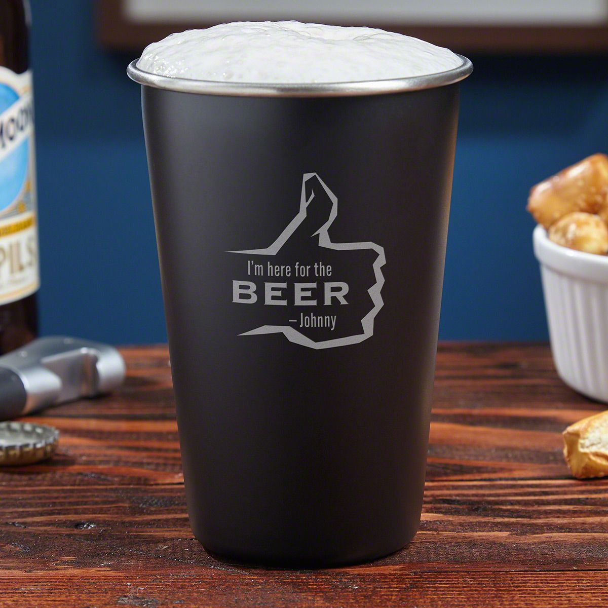 Here for the Beer Custom Stainless Steel Pint