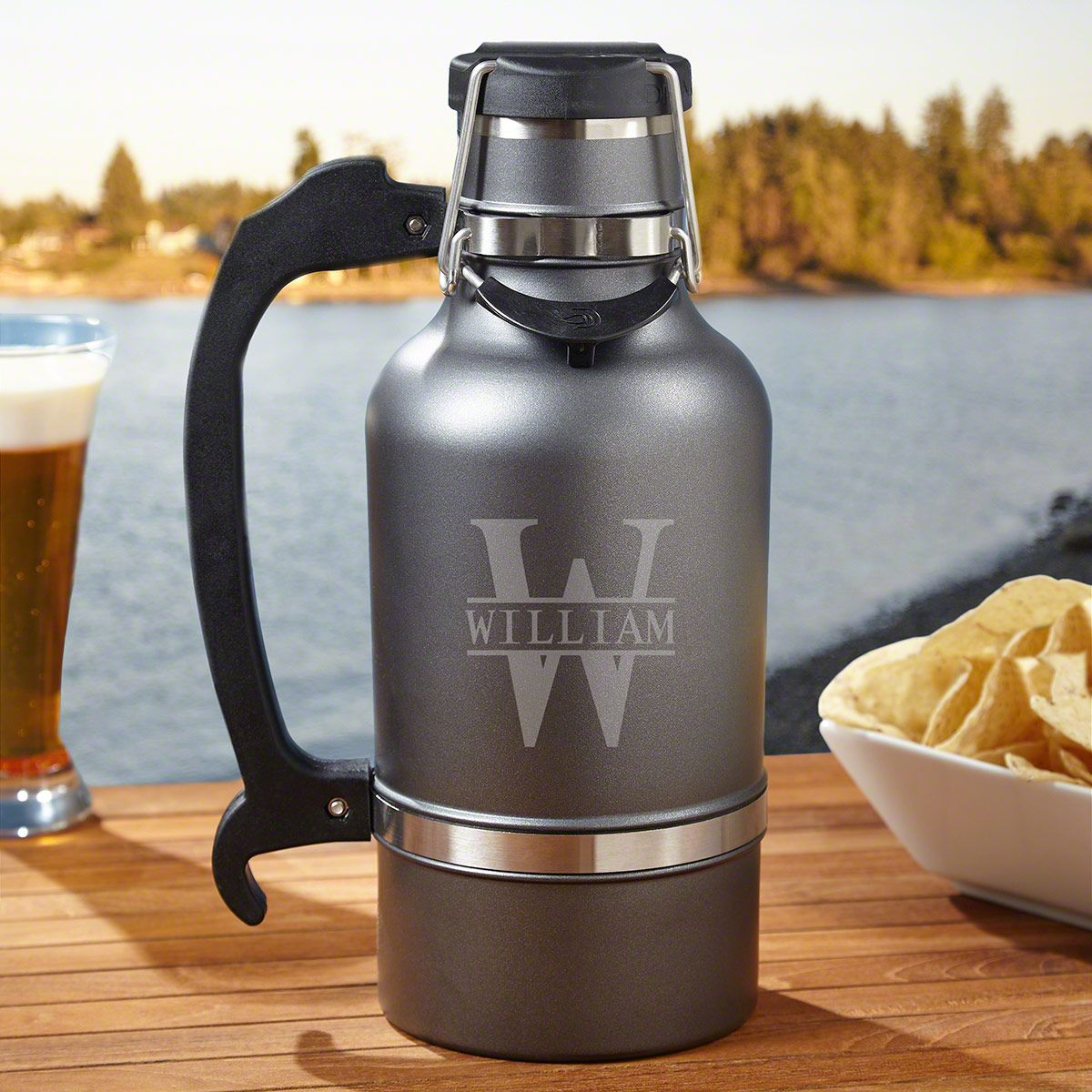 Oakmont Personalized Double Walled Gunmetal Beer Growler