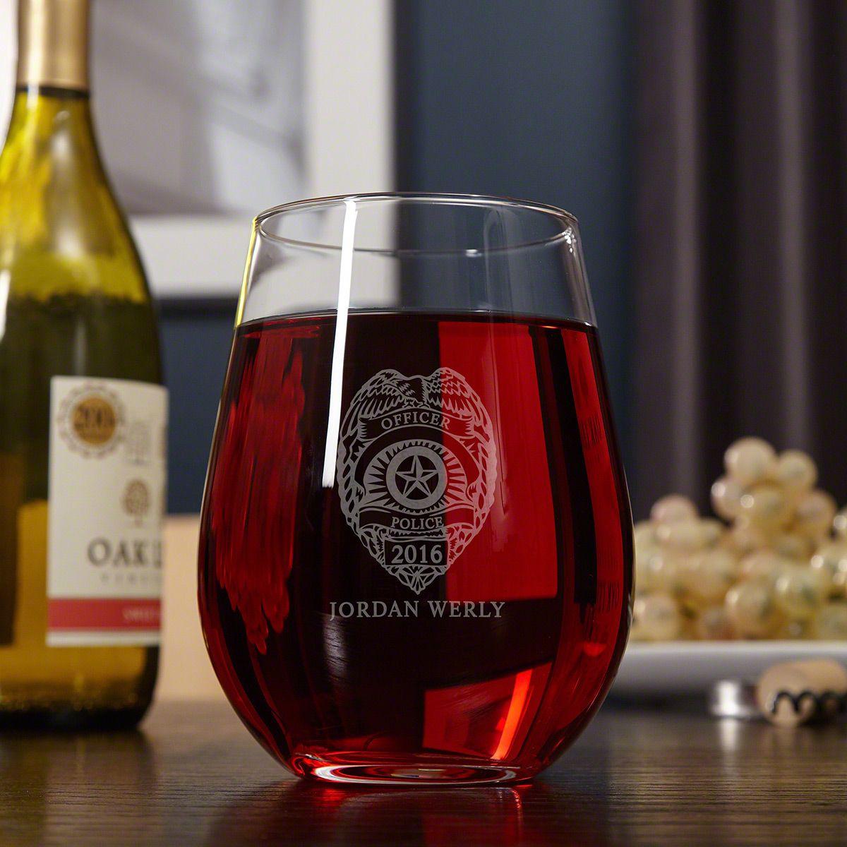 Police Badge Custom Giant Stemless Wine Glass