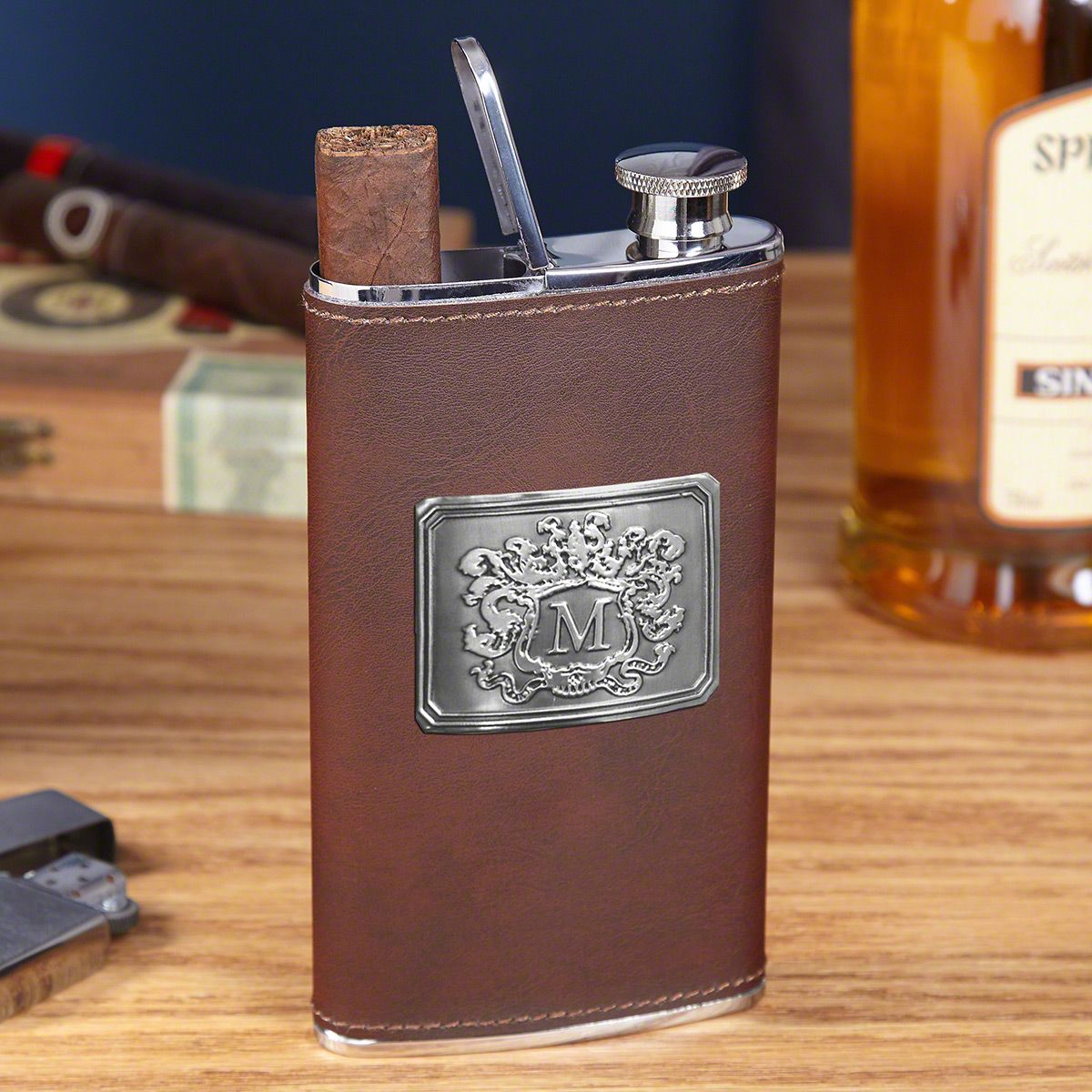 Brown Authentic Leather 2-in-1 Cigar Flask