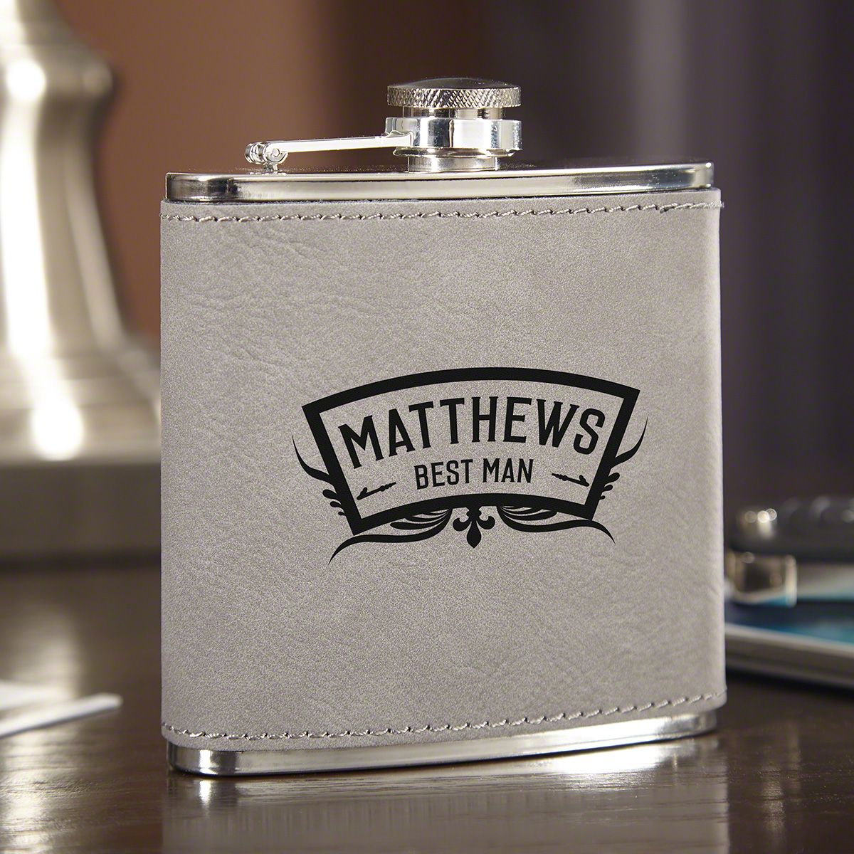 Wedding Party Personalized Slate Gray Hip Flask