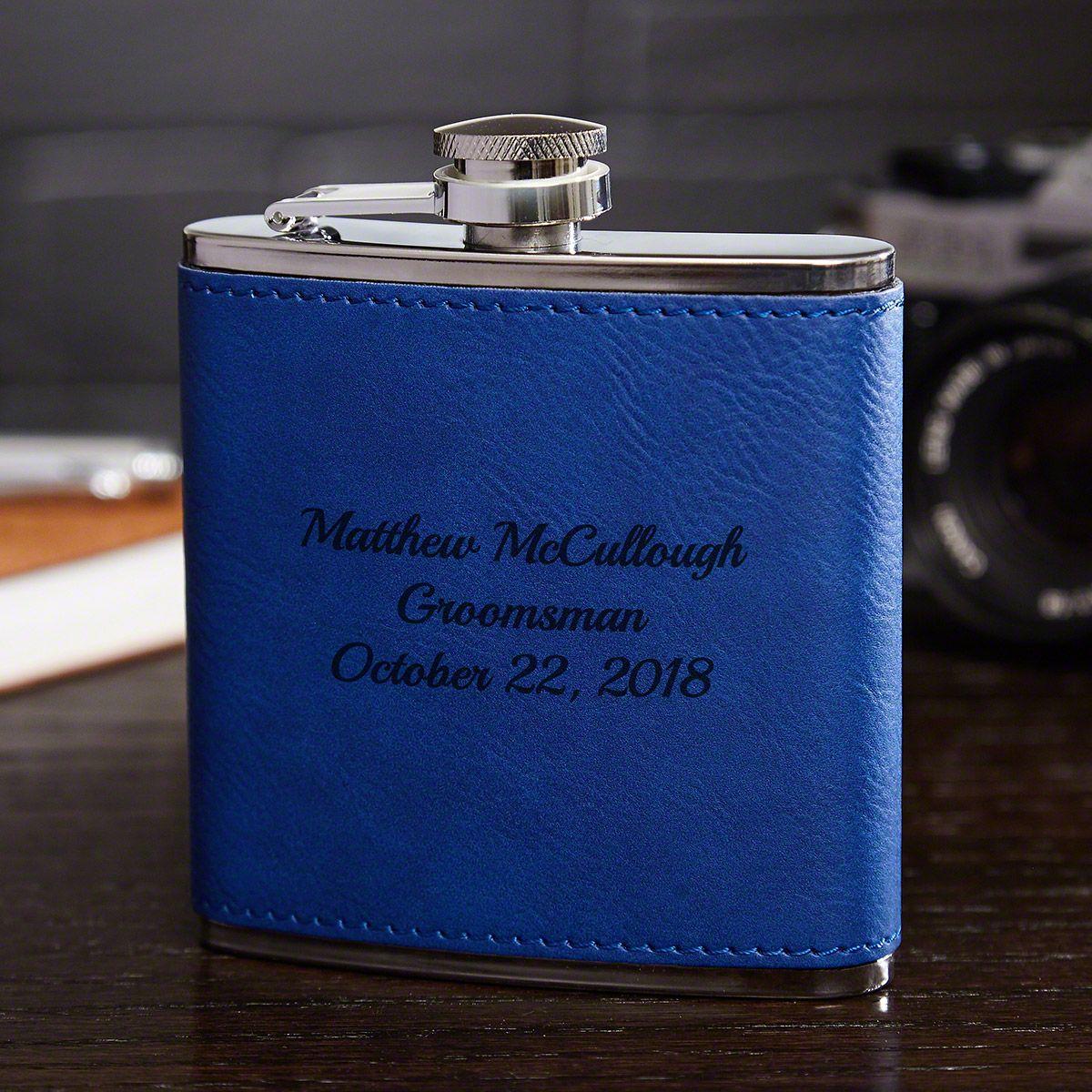 Cobalt Blue Leatherette Personalized Hip Flask