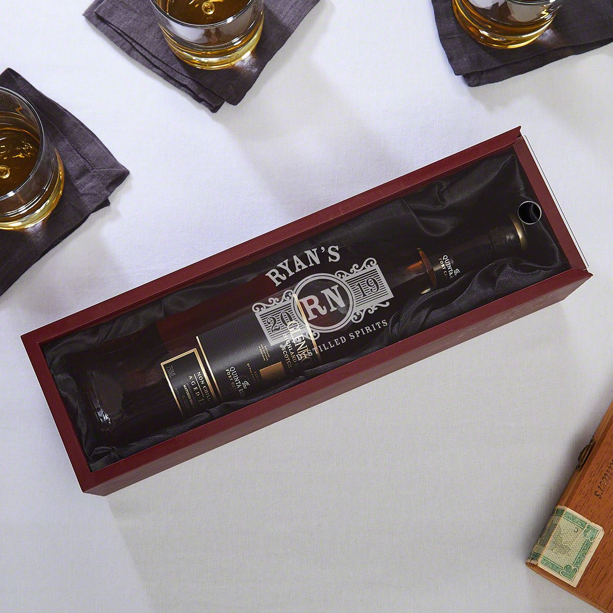 Marquee Engraved Wooden Box for Liquor Bottles