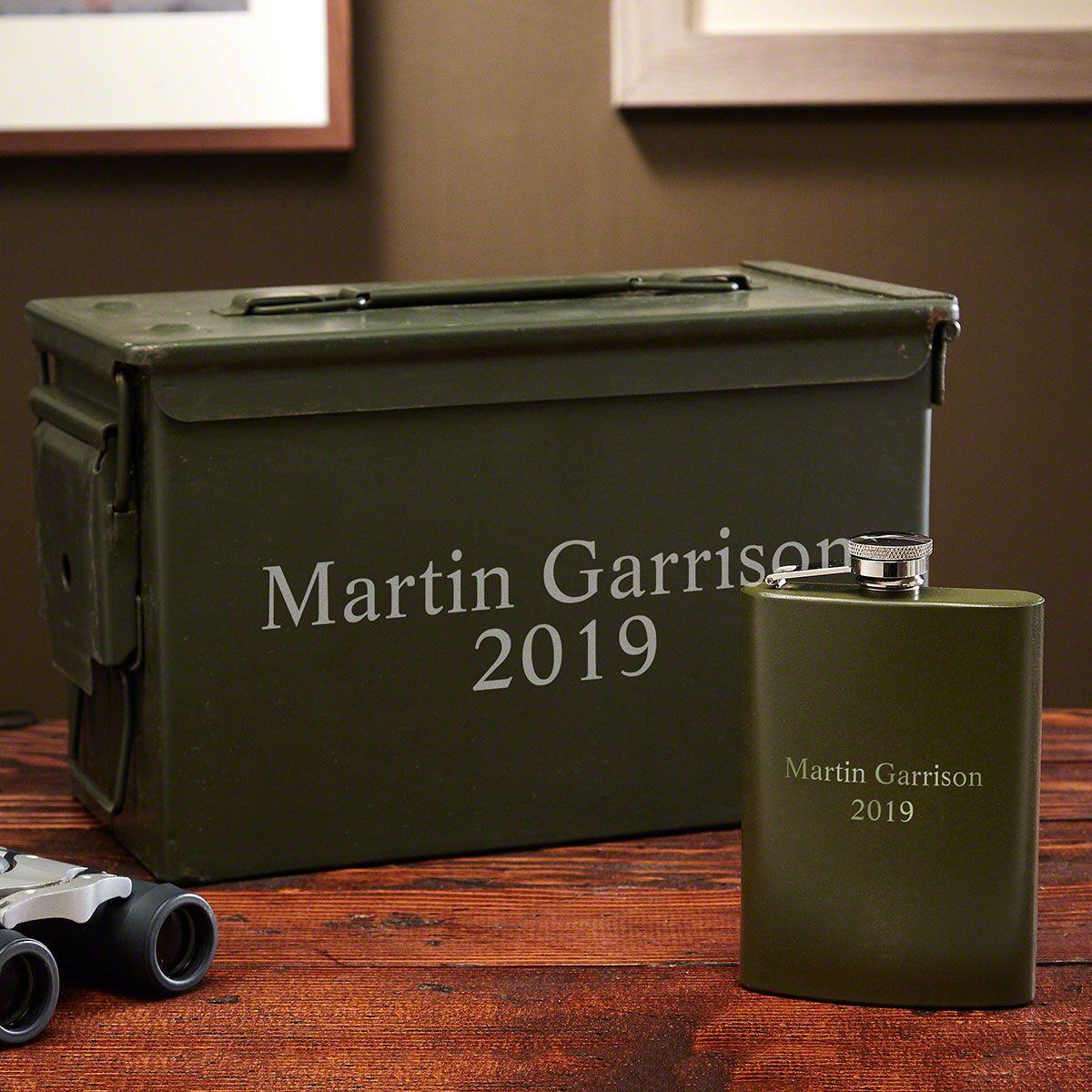 Custom Ammo Box Can and Engraved Liquor Flask Set