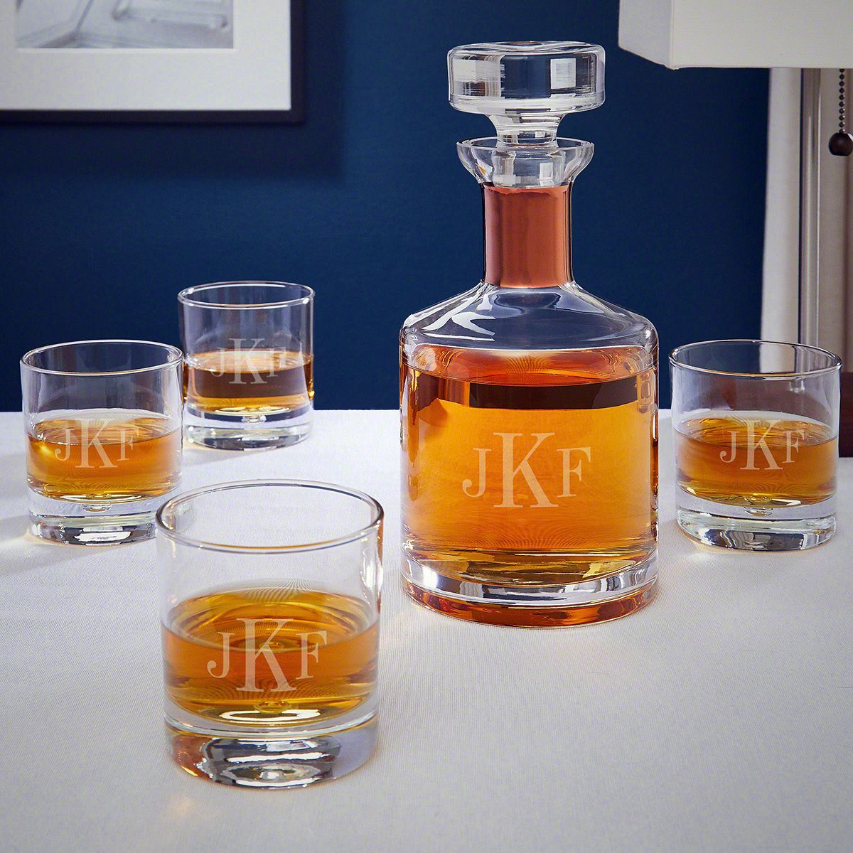 Classic Monogrammed Rocks Glasses and Decanter with Copper Collar