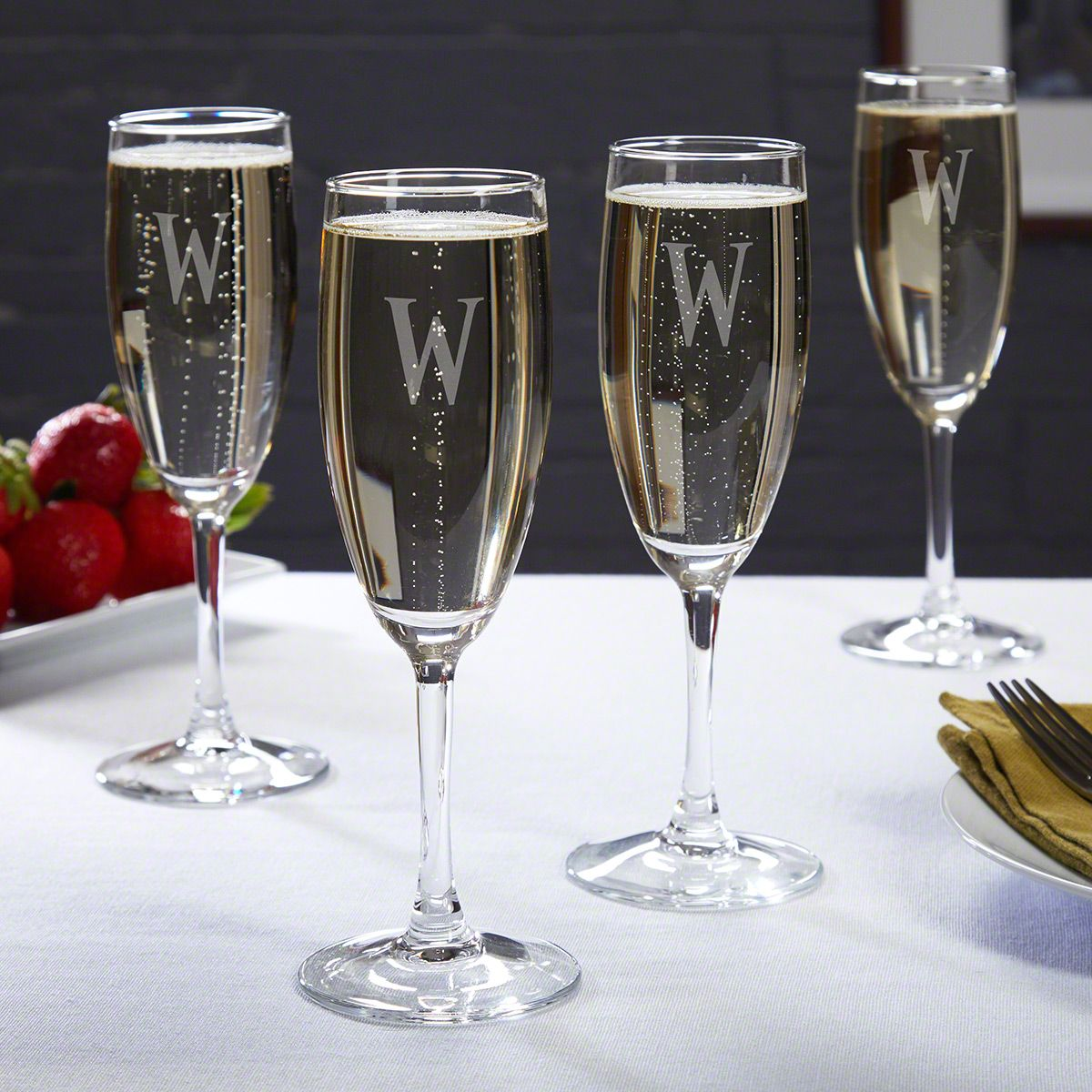 Rousseau Etched Champagne Glasses Set of 4