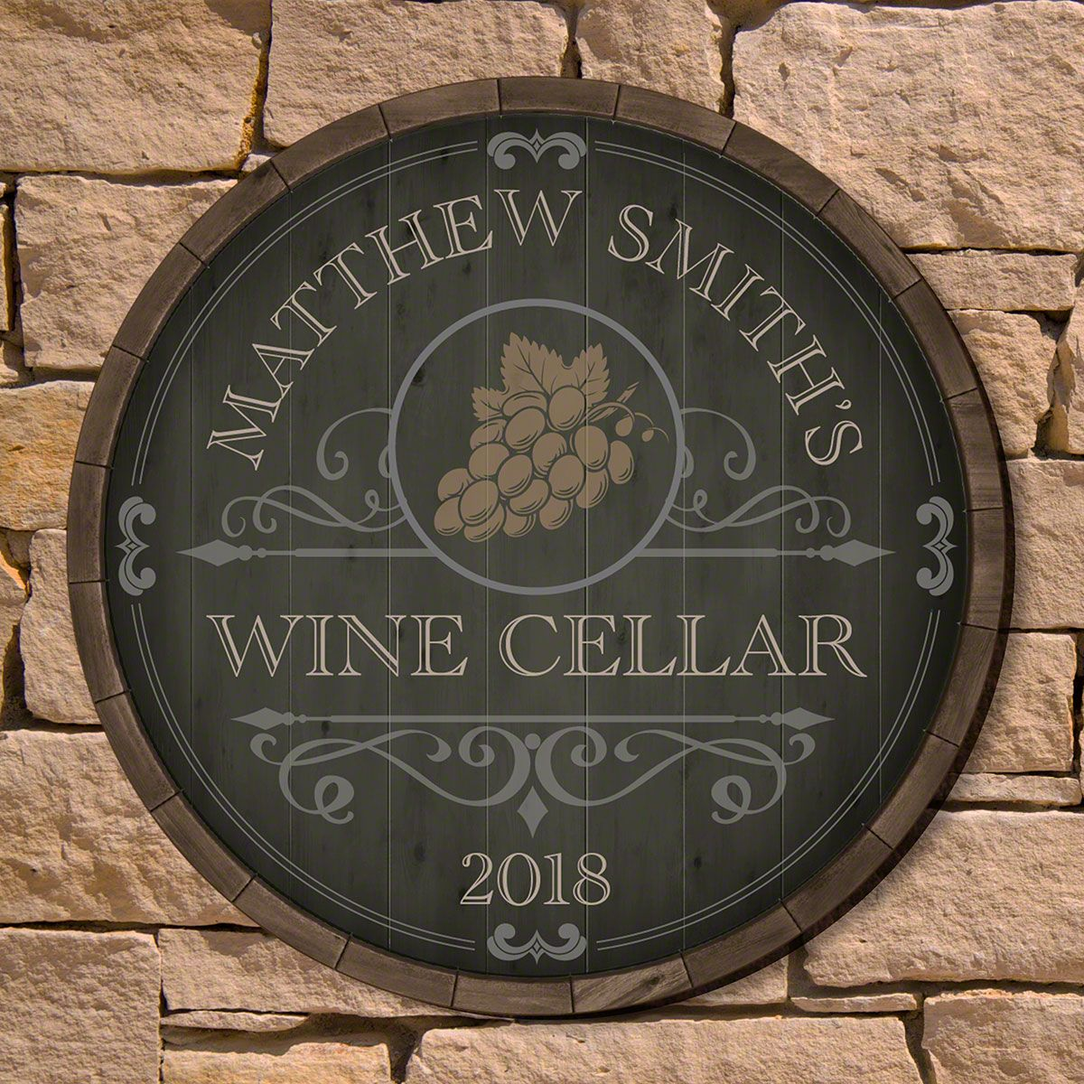 Beauteous Barrel Personalized Wine Cellar Sign (2 Designs)