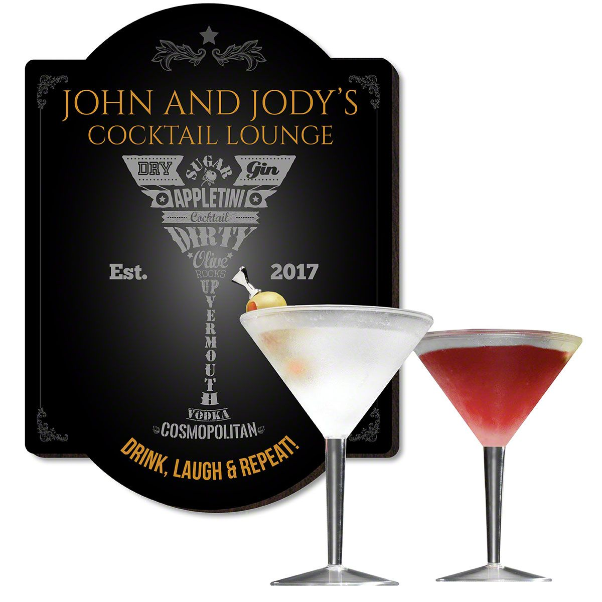 Modern Martini Bar Sign and Glass Set