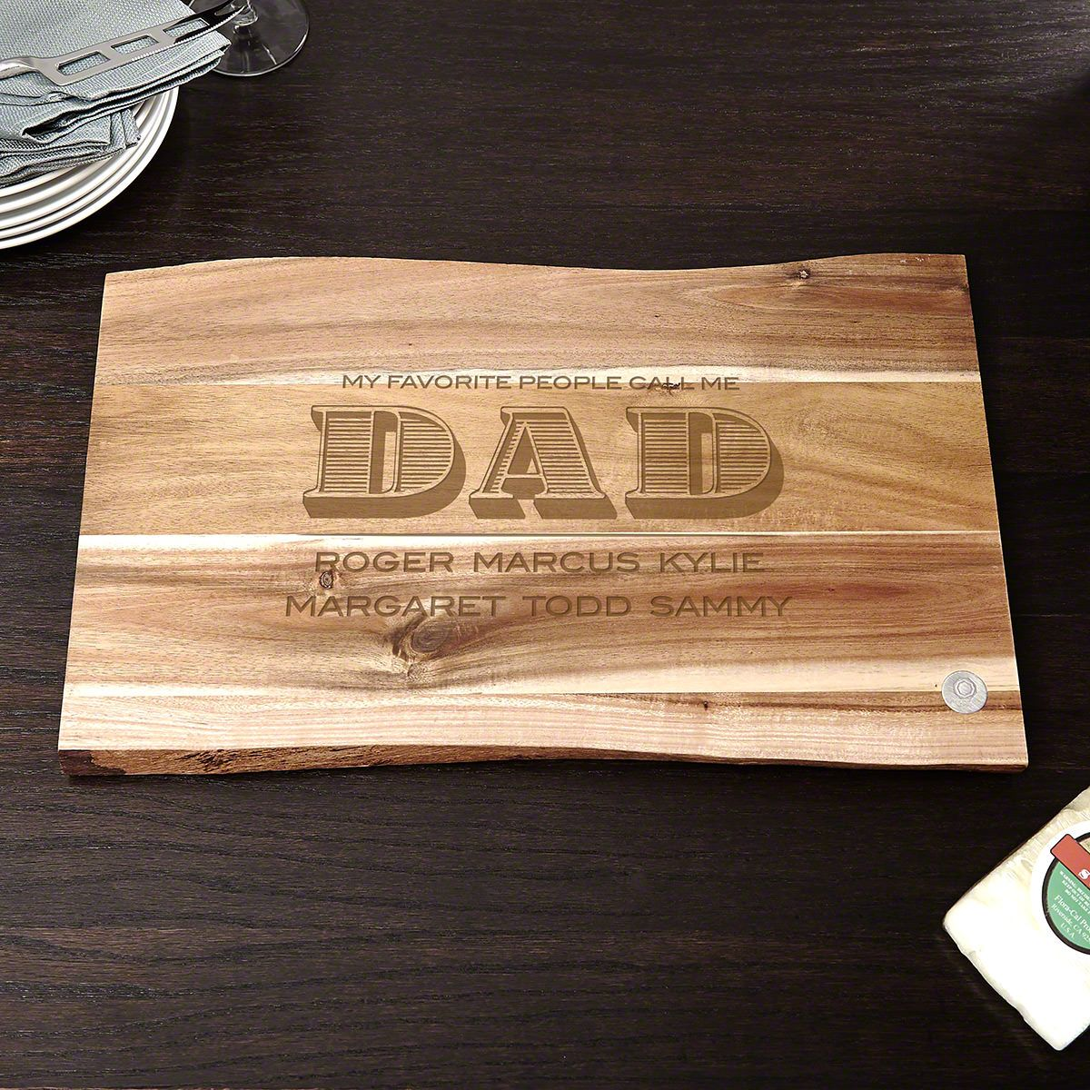 Dad of Distinction Personalized Hardwood Cutting Board Gift