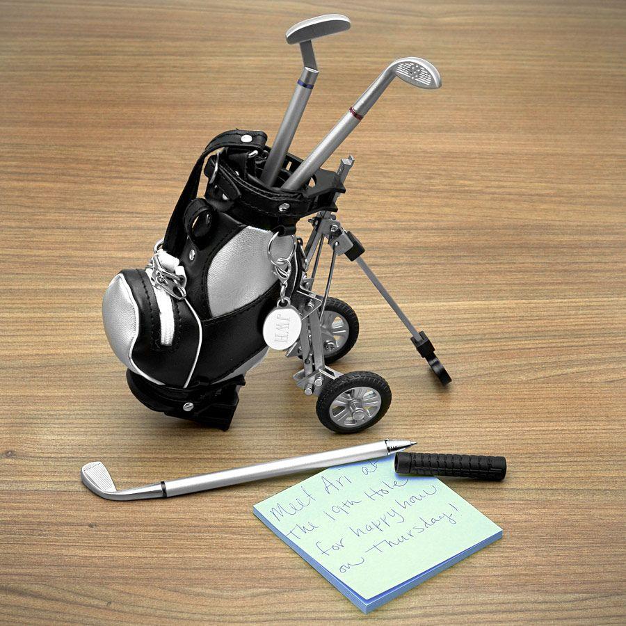 Golf Pens with Golf Bag Holder, 4-Piece Set (Engravable)