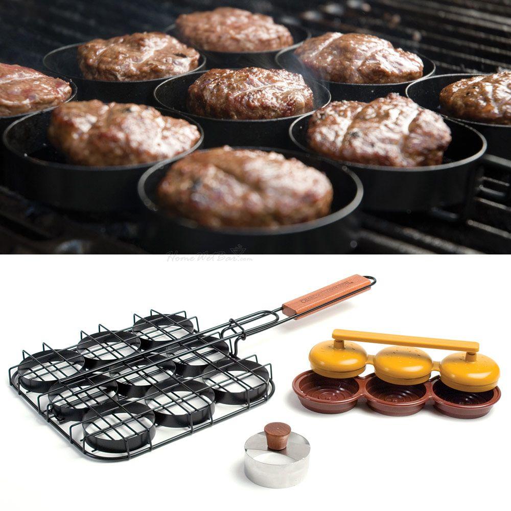 3-in-1 Sliders Grill Basket, Bun Cutter, and Mini Burgers Press