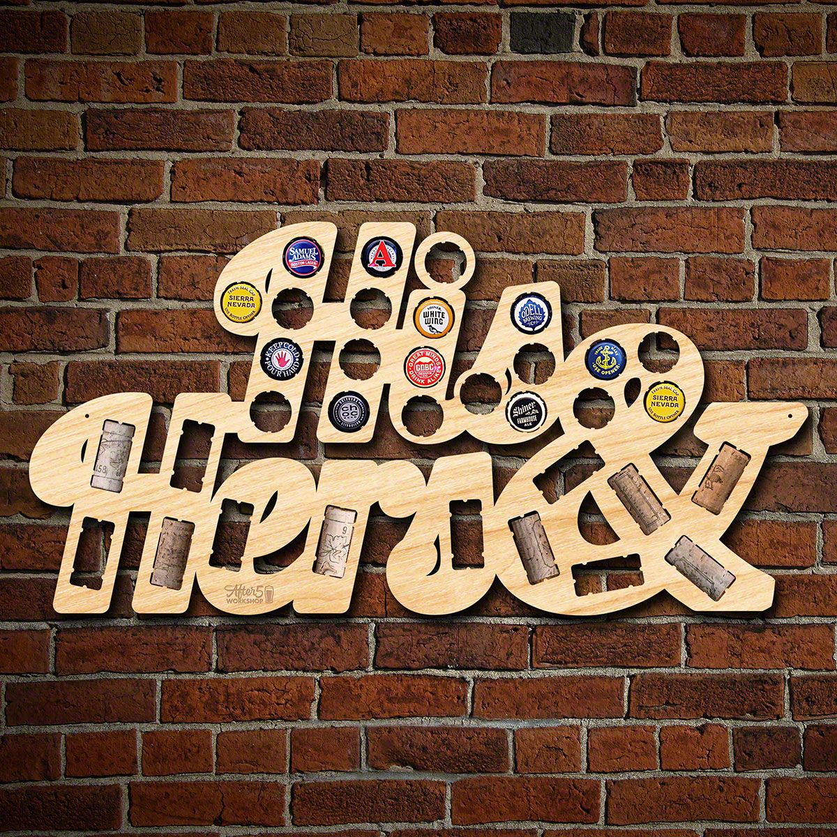 His & Hers Beer Cap and Wine Cork Holder