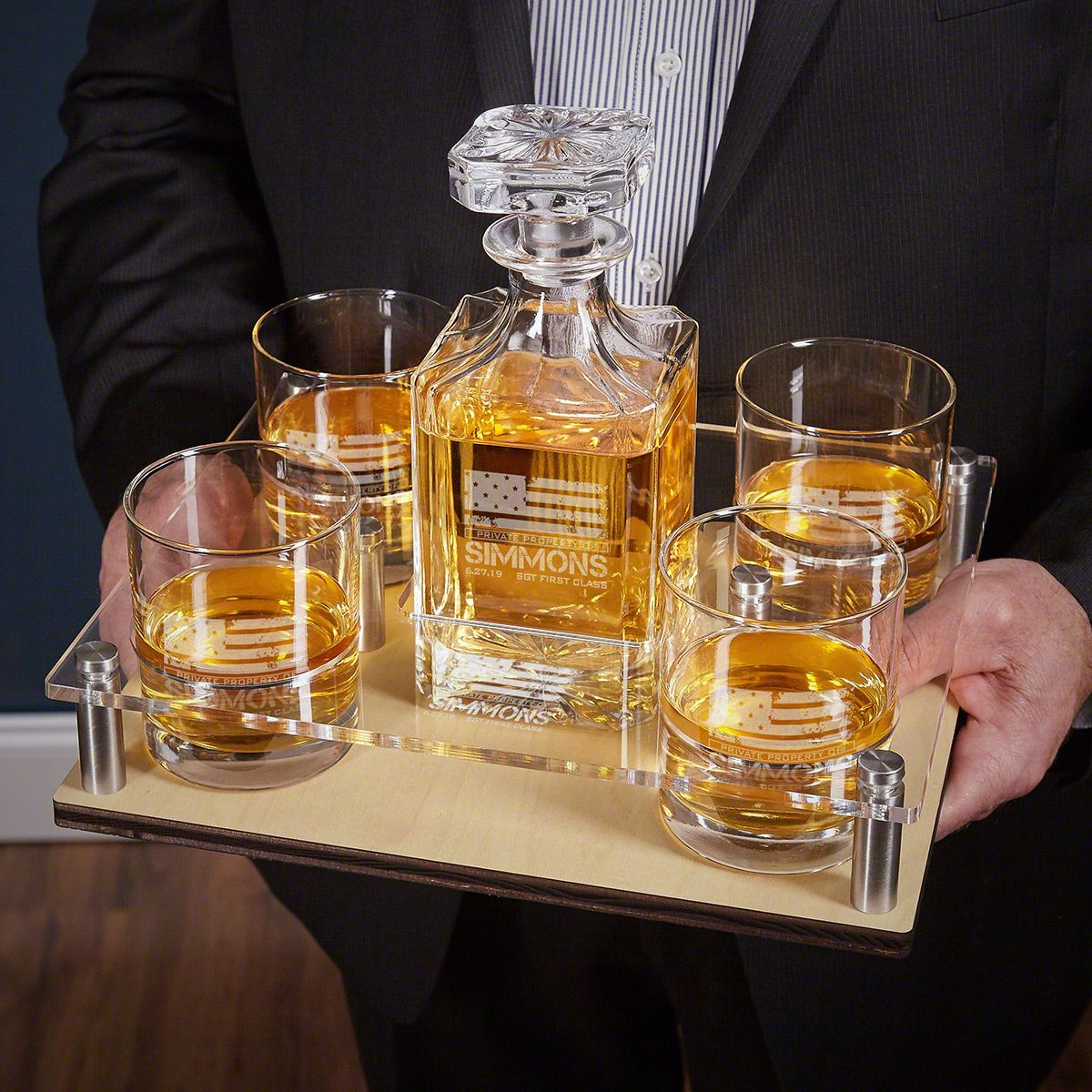 Carson Whiskey Serving Tray American Heroes