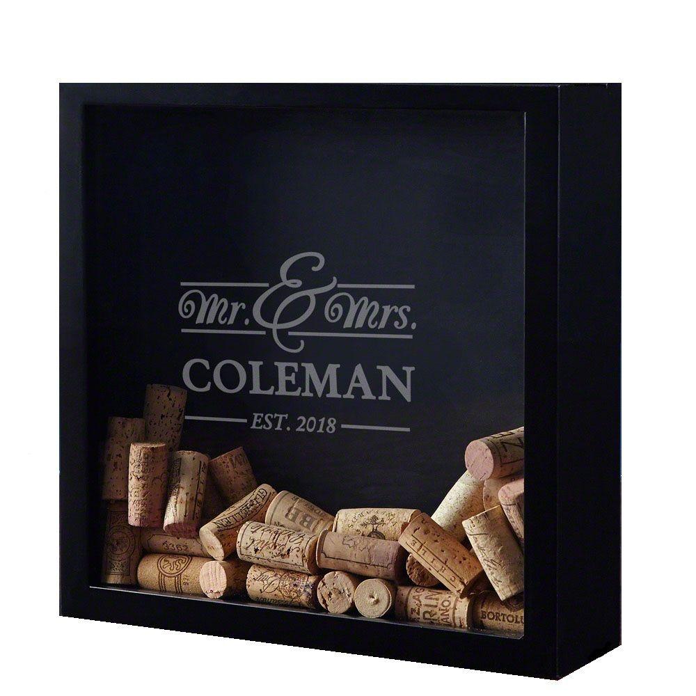 Mr. & Mrs. Custom Wine Cork Shadow Box