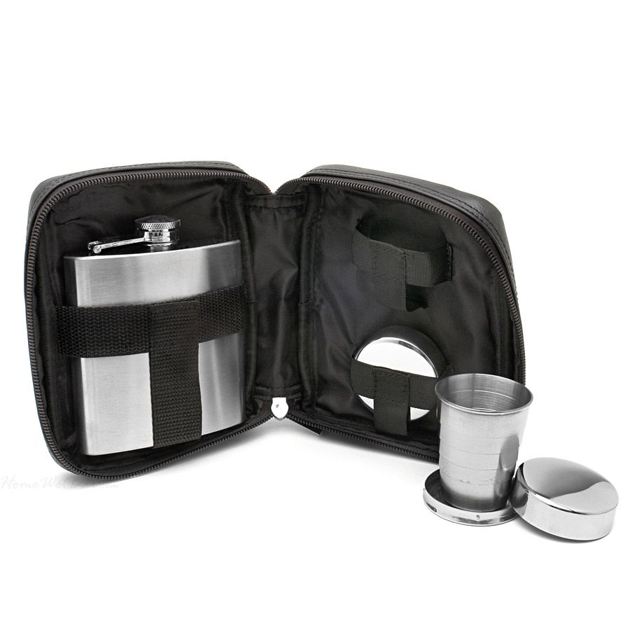 Anaheim Travel Bar Set with Flask and Shot Glasses (Engravable)