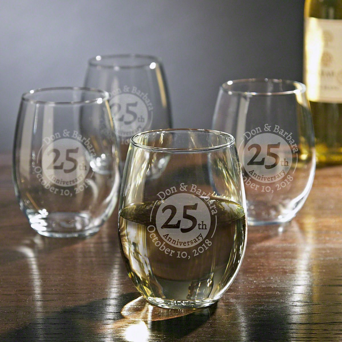 Landmark Anniversary Etched Glass Stemless Wine Glasses