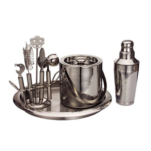 Deluxe Hammered Steel 9pc Bar Tool Set
