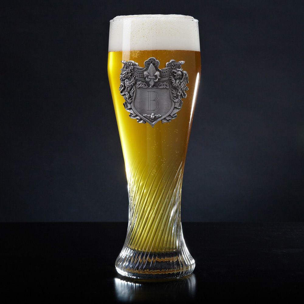 German Swirling Pilsner Glass with Personalized Crest
