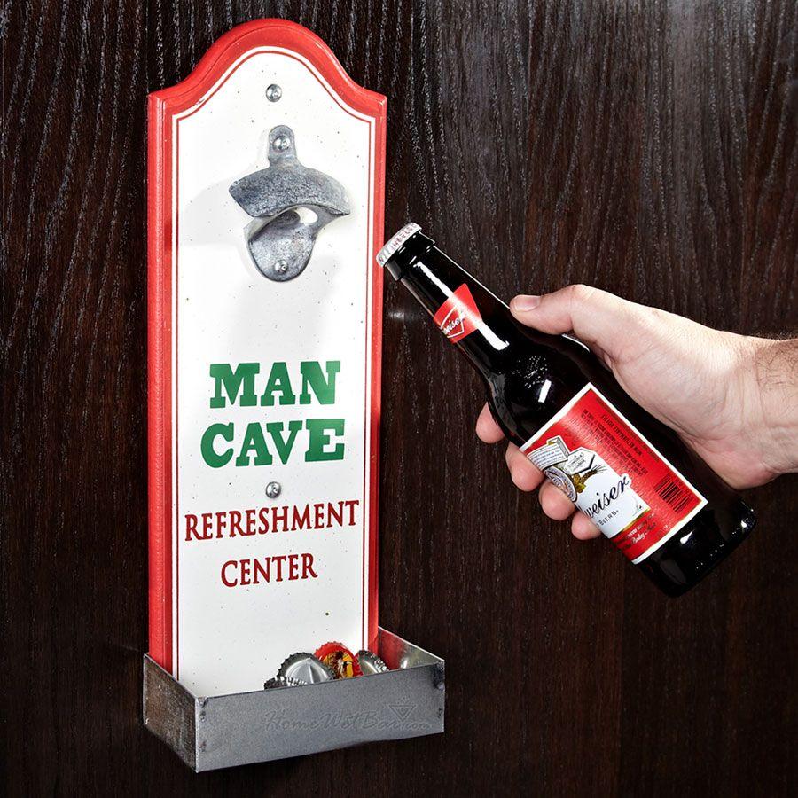 Man Cave Beer Bottle Opener with Cap Catcher