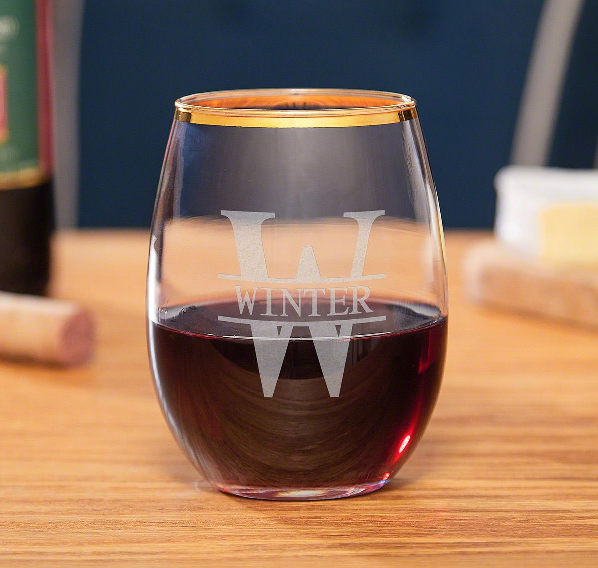 Oakmont Stemless Custom Wine Glass with Gold Rim