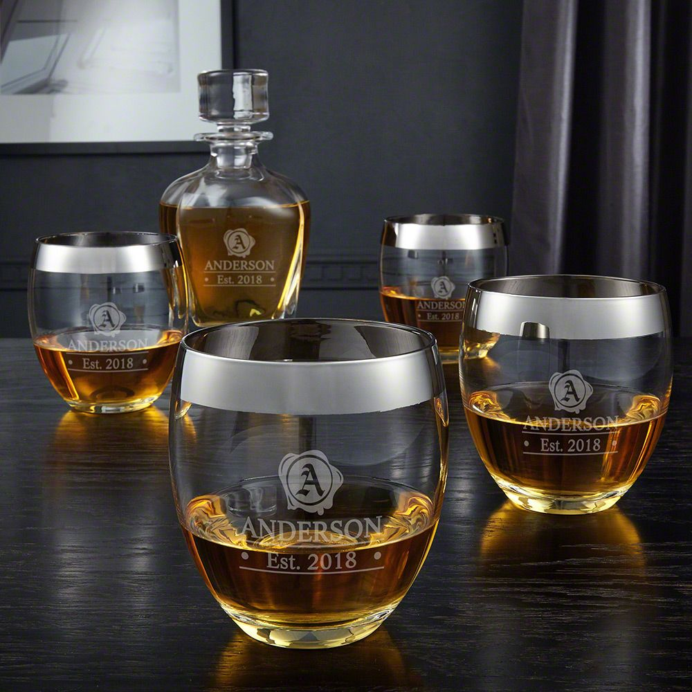 Wax Seal Engraved Decanter Set with Silver Rim Glasses