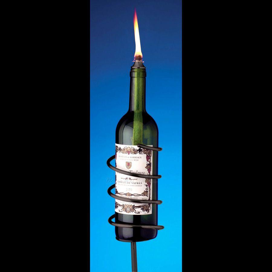Black Wine Bottle Garden Torch Kit