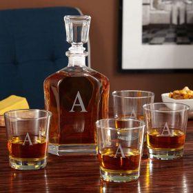 Single Initial Liquor Decanter Set