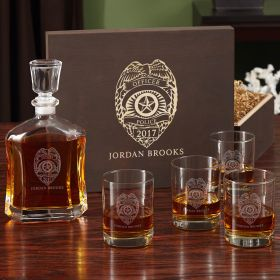 Police Badge Personalized Whiskey Glass Set with Wood Box