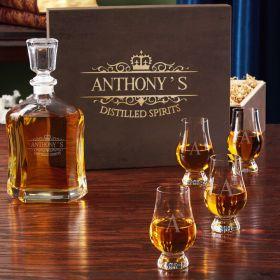 Kensington Glass Liquor Decanter with Glencairn Glasses Set