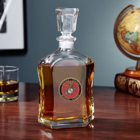 US Marines Crested Whiskey Decanter
