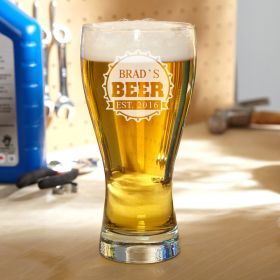 Bottle Cap Personalized Pilsner Glass