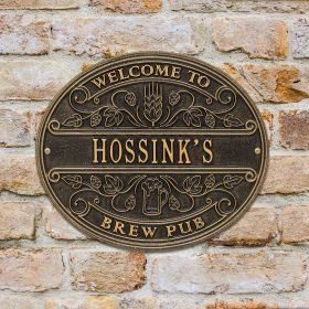 Brew Pub Welcome Personalized Wall Plaque  - 7 Color Options