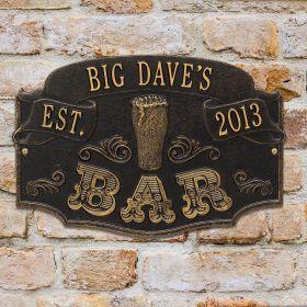 Established Bar Personalized House Plaque - 7 Color Options