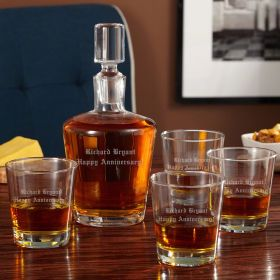 Personalized Rocks Glasses with Bryant Liquor Decanter