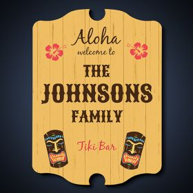 Tiki Bar Wooden Personalized Sign with Name
