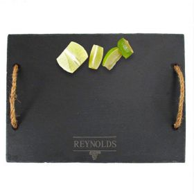 Personalized Svelte Slate Cheese Board with Rope Handles