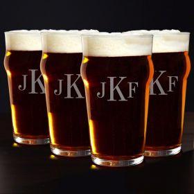 Monogram English Pub Beer Glasses, Set of 4