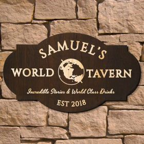 Worldly Tavern Personalized Bar Sign (Signature Series)