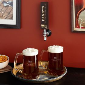 Well-Crafted Tap Handle with Custom Beer Mugs, Set of 2
