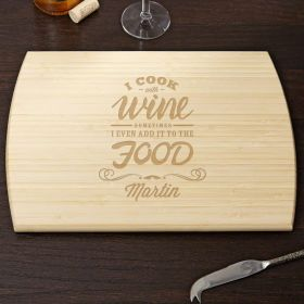 Cook with Wine Personalized Cutting Board