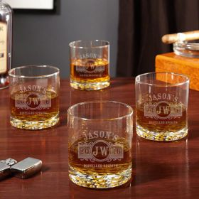 Marquee Custom Buckman Whiskey Glasses, Set of 4
