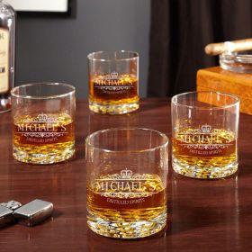 Buckman Kensington Personalized Whiskey Glasses, Set of 4