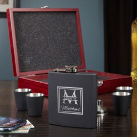 Oakhill Engraved Flask Set with Shot Glasses