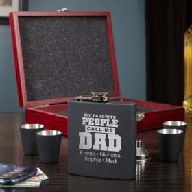 Call Me Dad Gift - Custom Stainless Steel Flask Set For Dad