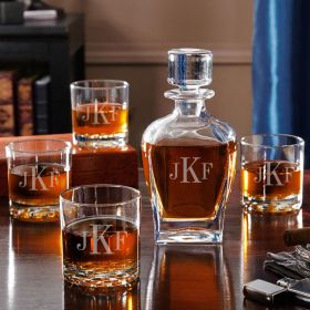 Draper Liquor Decanter Set with Whiskey Glasses