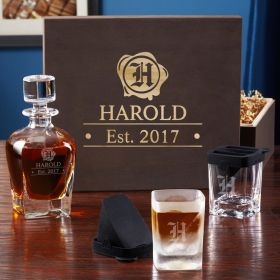 Wax Seal Whiskey Glass Set with Custom Wooden Gift Box